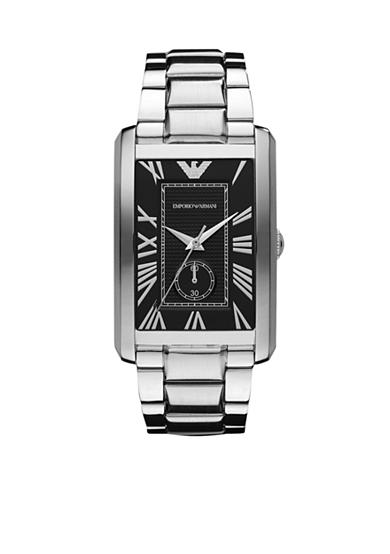 Emporio Armani® Men's Marco Classics Rectangular Black Dial Stainless Steel Bracelet Watch