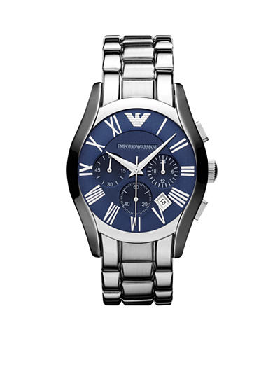 Emporio Armani® Men's Silver Tone Stainless Steel Valente Chrongraph Watch