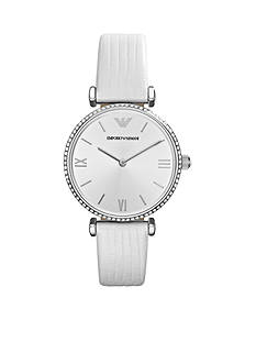 Emporio Armani Women's White Micro Lizard Leather Strap Two Hands Glitz Watch