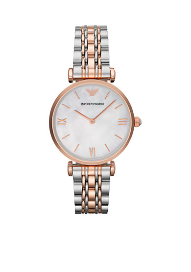 Emporio Armani® Women's Rose Gold Tone IP and Stainless Steel Bracelet Two Hands Watch