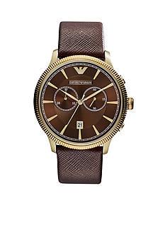 Emporio Armani Men's Brown Saffiano Leather Chronograph Watch