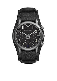 Emporio Armani Men's Black Leather Cuff Strap Chronograph Watch