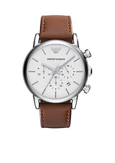 Emporio Armani Men's Brown Leather Strap Chronograph Watch