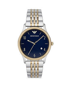 Emporio Armani Classic Gold-Tone and Stainless Steel Two-Tone Bracelet Three Hand with Date Watch