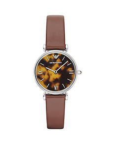 Emporio Armani Retro Brown Leather Strap Two Hand Watch