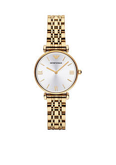 Emporio Armani® Retro Gold-Tone Stainless Steel Bracelet Two Hand Watch