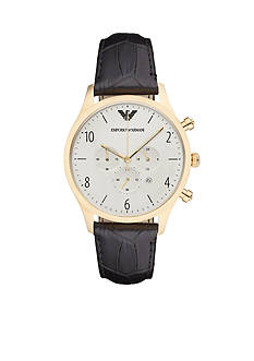 Emporio Armani Men's Beta Gold-Tone And Black Leather Chronograph Watch