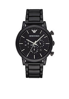 Emporio Armani Men's Luigi Black Plated Chronograph Watch