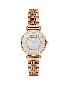 Emporio Armani Women's Gianni Rose Gold-Tone Two Hand Watch