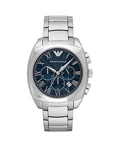 Emporio Armani® Men's Stainless Steel Blue Dial Chronograph Watch