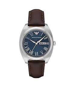 Emporio Armani® Men's Brown Leather Blue Dial Three Hand Watch