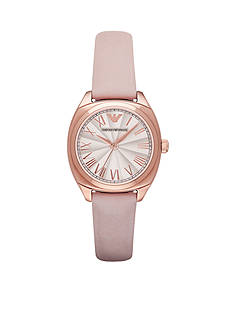 Emporio Armani® Womens Rose Gold-Tone Pink Leather Three Hand Watch