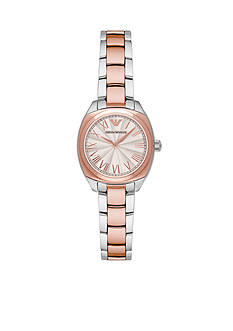 Emporio Armani® Womens Two-Tone Rose Gold and Silver Three Hand Watch