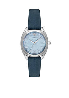 Emporio Armani® Womens Navy Leather Blue Mother of Pearl Dial Three Hand Watch