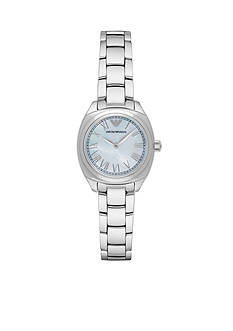 Emporio Armani® Womens Silver-Tone Blue Mother of Pearl Dial Three Hand Watch