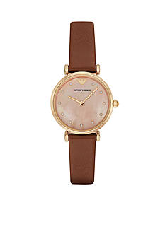 Emporio Armani® Womens Brown Leather Coral Mother of Pearl Dial Three Hand Watch
