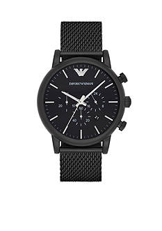 Emporio Armani Men's Luigi Black IP Mesh Chronograph Watch