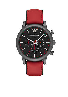 Emporio Armani Men's Luigi Gunmetal and Red Leather Chronograph Watch