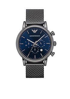 Emporio Armani Luigi Gunmetal-Tone Mesh Chronograph Watch