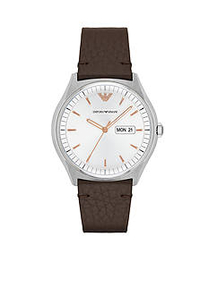 Emporio Armani Men's Zeta Brown Leather Watch