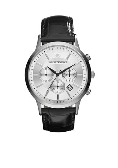 Emporio Armani® Men's Black Leather and Silver-Tone Stainless Steel Chronograph Watch
