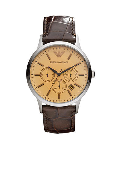 Emporio Armani® Men's Brown Leather Three-Hand Watch