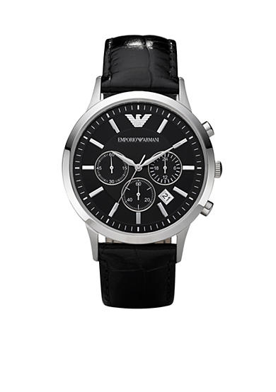 Emporio Armani® Emporio Armani Men's Classic Round Black Chronograph Watch With Black Leather Strap