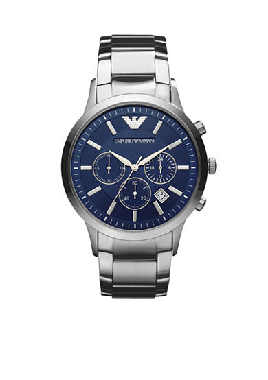 Emporio Armani® Men's Silver-Tone Stainless Steel Chronograph Watch