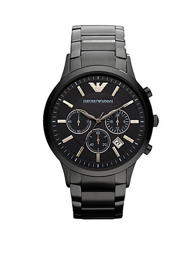 Emporio Armani® Men's Classic Black Stainless Steel Watch With Round Black Chronograph Dial