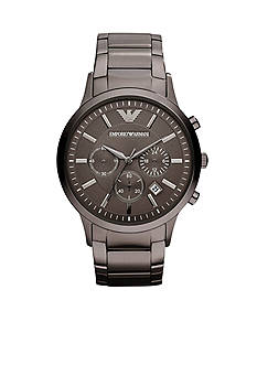 Emporio Armani Men's Classic Round Gray on Gray Stainless Steel Watch