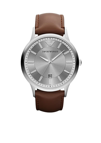 Emporio Armani® Men's Brown Leather and Silver-Tone Stainless Steel Three-Hand Watch
