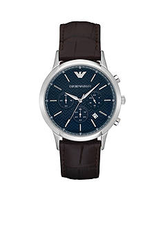 Emporio Armani Men's Renato Automatic Brown Leather Watch