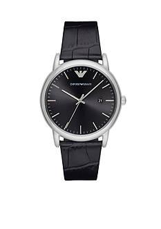 Emporio Armani Men's Luigi Black Leather Three-Hand Watch