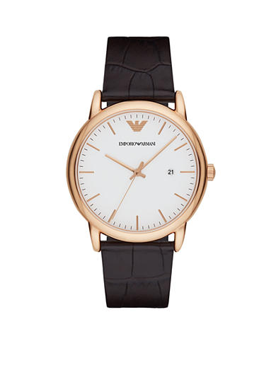 Emporio Armani® Men's Rose-Gold Tone and Leather Three-Hand Watch