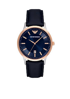 Emporio Armani Men's Renato Blue Three-Hand Leather Watch