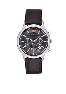 Emporio Armani Men's Renato Dark Brown Leather Cronograph Watch