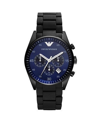 Emporio Armani® Sportivo Black Silicone and Stainless Steel with Blue Dial