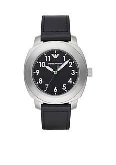 Emporio Armani Men's Sport Black Leather Strap Three Hand Watch