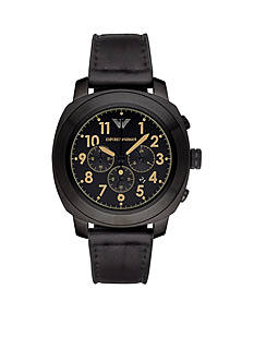 Emporio Armani Men's Sport Black Leather Chronograph Watch