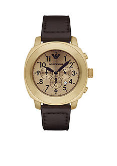 Emporio Armani Men's Sport Dark Brown Leather Chronograph Watch