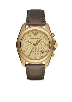 Emporio Armani Men's Sigma Gold-Tone And Brown Chronograph Watch