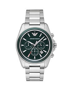 Emporio Armani® Men's Sport Stainless Steel Green Dial Chronograph Watch