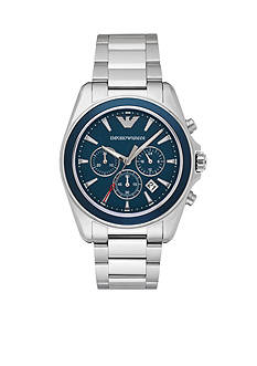 Emporio Armani® Men's Sport Stainless Steel Blue Dial Chronograph Watch
