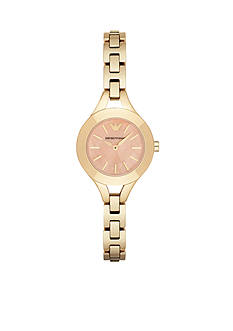 Emporio Armani® Womens Gold-Tone Coral Mother of Pearl Dial Three Hand Watch