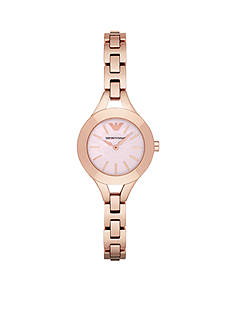 Emporio Armani® Womens Rose Gold-Tone Pink Mother of Pearl Three Hand Watch