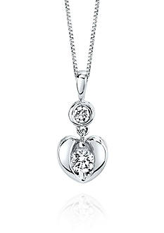 Sirena Diamond Heart Pendant in 10k White Gold