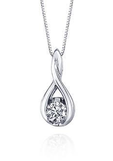 Sirena Diamond Twist Pendant in 14k White Gold