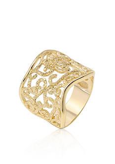 Charles Garnier Sterling Silver with 18k Yellow Gold Filigree Ring
