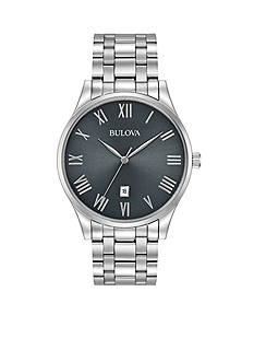Bulova Men's Classic Watch with Gunmetal Dial