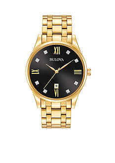 Bulova Men's Gold-Tone Diamond Dial Watch